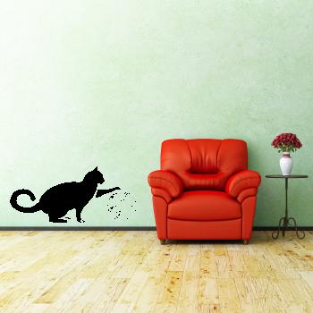 Samolepka na zeď - Kočička s klubíčkem