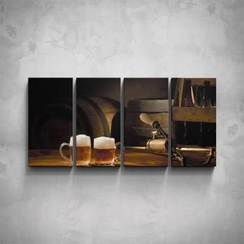 4-dílný obraz - Dvě piva