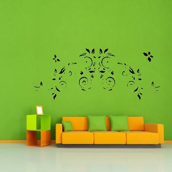 Samolepka na zeď- Květinový ornament s motýlky