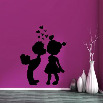 Samolepka na zeď - Chlapeček s holčičkou