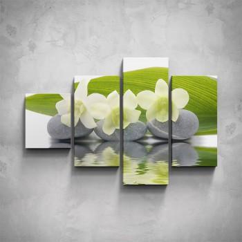 4-dílný obraz - Bílé orchideje