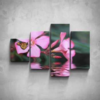 4-dílný obraz - Motýl na květu