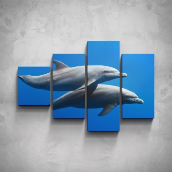 4-dílný obraz - Delfíni