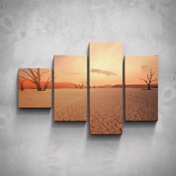 4-dílný obraz - Vyprahlá poušť