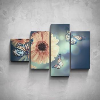 4-dílný obraz - Motýli s květinou