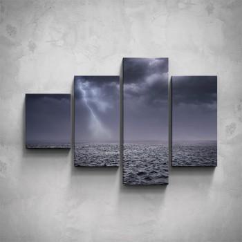 4-dílný obraz - Bouře na moři