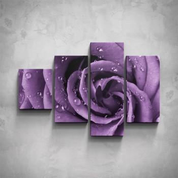 4-dílný obraz - Fialový květ - detail