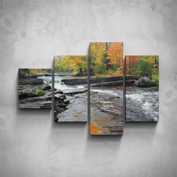 4-dílný obraz - Podzimní řeka