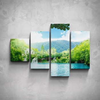 4-dílný obraz - Jezero v horách