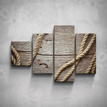 4-dílný obraz - Dřevo - detail