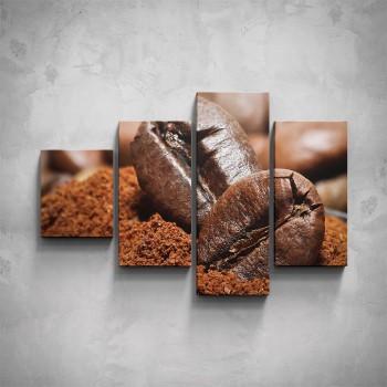 4-dílný obraz - Kávová zrna