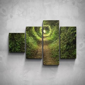 4-dílný obraz - Cesta lesem
