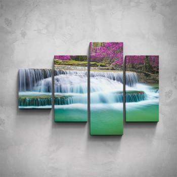 4-dílný obraz - Kaskádový vodopád