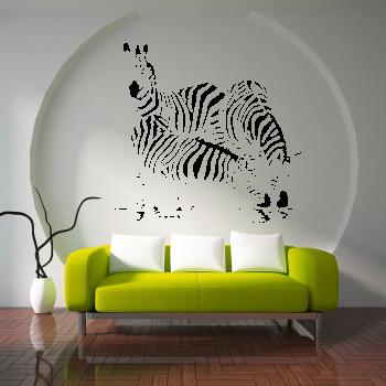 Samolepka na zeď - Pasoucí se zebry