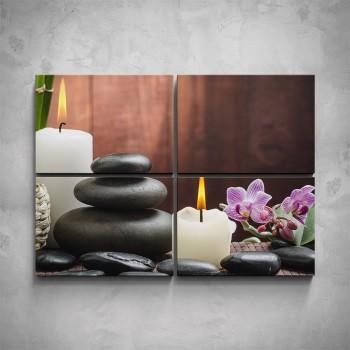 4-dílný obraz - Lávové kameny