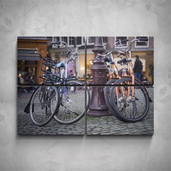 4-dílný obraz - Kola ve městě