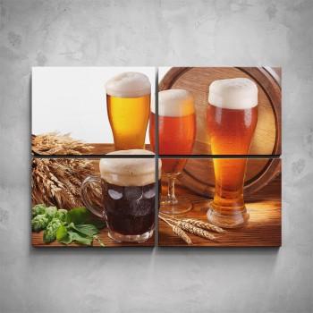 4-dílný obraz - 4 druhy piva