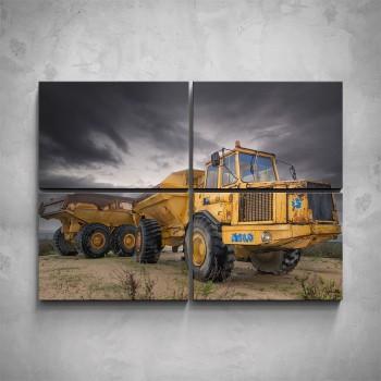 4-dílný obraz - Starý žlutý traktor