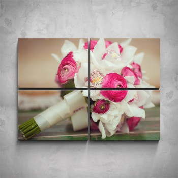 4-dílný obraz - Svatební květina