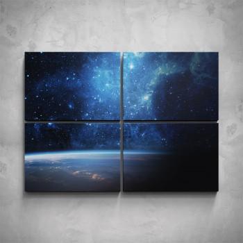 4-dílný obraz - Vesmír nad Zemí