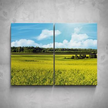 4-dílný obraz - Louka s lesy