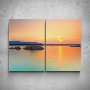 4-dílný obraz - Západ slunce nad mořem