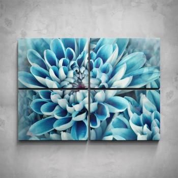 4-dílný obraz - Modrý květ - detail