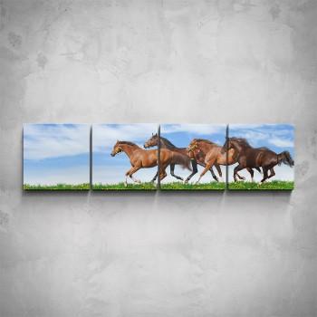 4-dílný obraz - Stádo koní