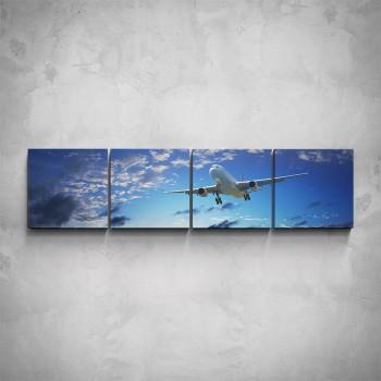 4-dílný obraz - Letadlo v oblacích