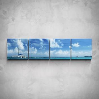 4-dílný obraz - Loď na moři