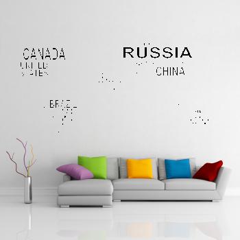 Samolepka na zeď - Mapa světa z textu