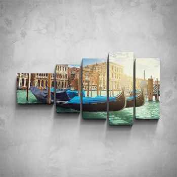 5-dílný obraz - Benátské gondoly