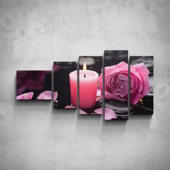 5-dílný obraz - Růžová růže