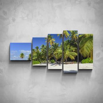 5-dílný obraz - Palmy na pláži