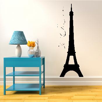 Samolepka na zeď - Eiffelova věž s nápisem
