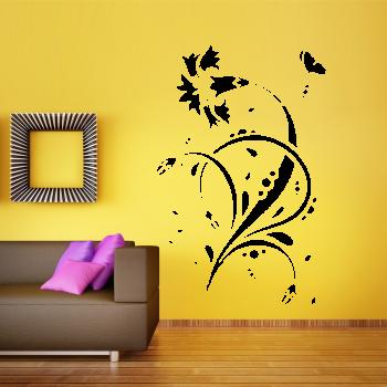 Samolepka na zeď - Květinový ornament 3