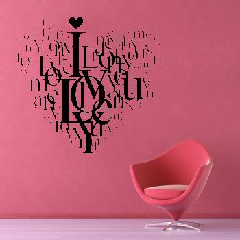 Samolepka na zeď - Love srdce