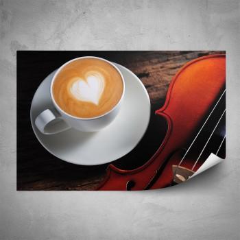 Plakát - Káva a housle