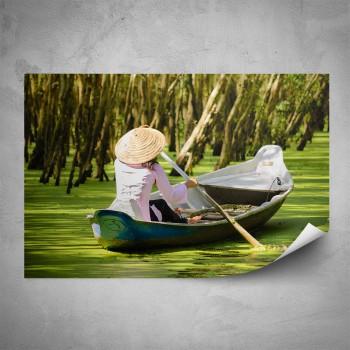Plakát - Žena na loďce