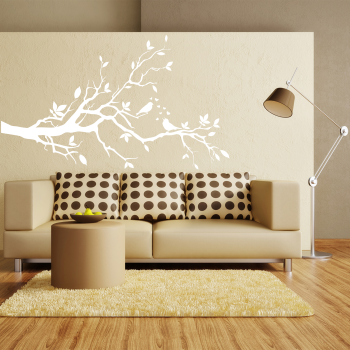Samolepka na zeď - Větvička s ptáčky