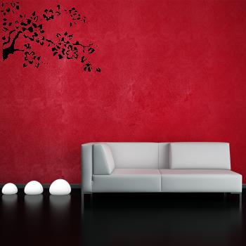 Samolepka na zeď - Květy na větvičce