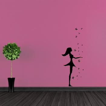 Samolepka na zeď - Motýlí dívka