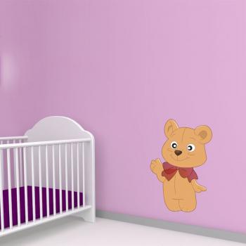 Barevná samolepka na zeď - Mávající medvídek