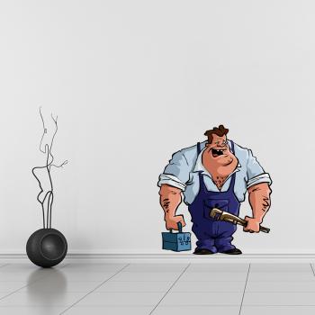 Barevná samolepka na zeď - Instalatér
