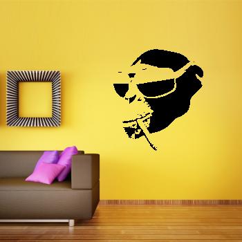 Samolepka na zeď - Opička s cigaretou