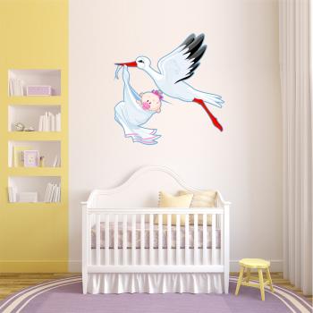 Barevná samolepka na zeď - Čáp s holčičkou
