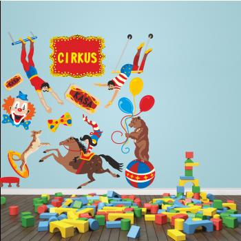 Barevná samolepka na zeď - Cirkus