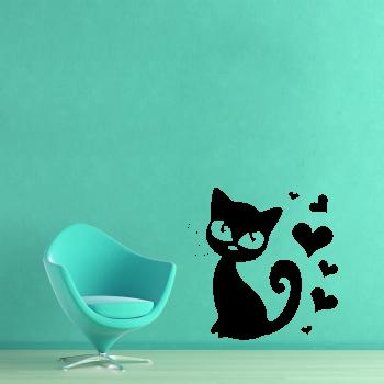 Samolepka na zeď - Kočička se srdíčky
