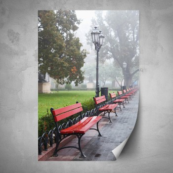Plakát - Červené lavičky v parku