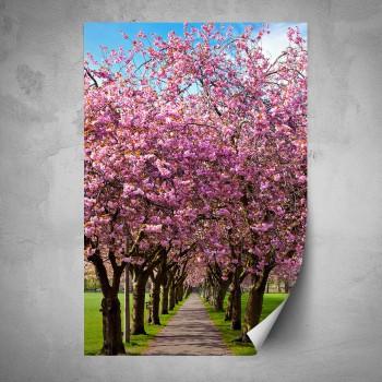 Plakát - Růžová alej stromů